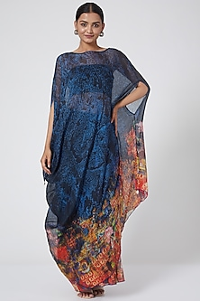 Blue Printed Asymmetrical Draped Dress by Payal Jain-POPULAR PRODUCTS AT STORE