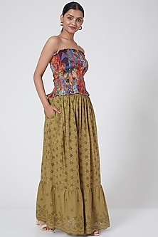 Khaki Tiered Maxi Skirt by Payal Jain-POPULAR PRODUCTS AT STORE