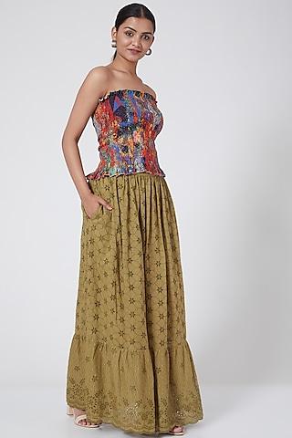 Khaki Tiered Maxi Skirt by Payal Jain