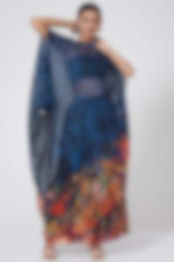 Blue Gathered Maxi Skirt by Payal Jain