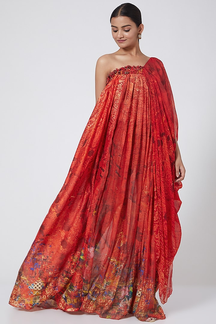 Red Embroidered Draped Bustier Dress by Payal Jain
