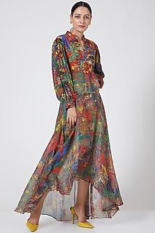 Multi Colored Asymmetric Draped Tunic by Payal Jain