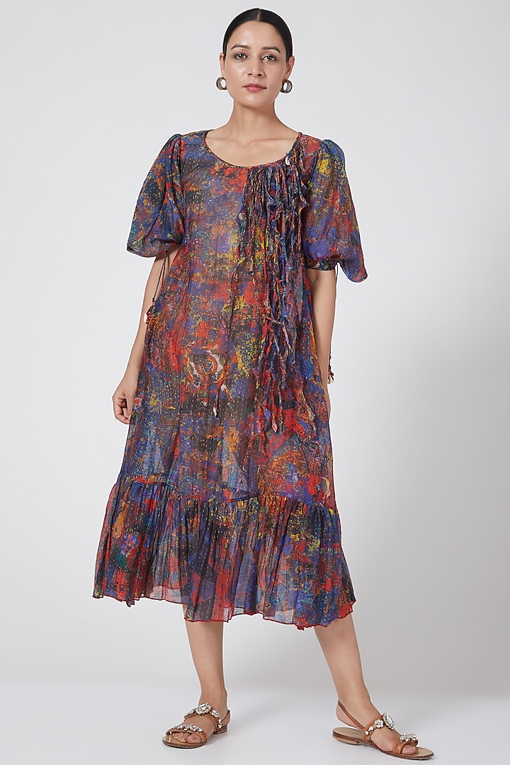 Multi Colored Peasant Tiered Maxi Dress by Payal Jain