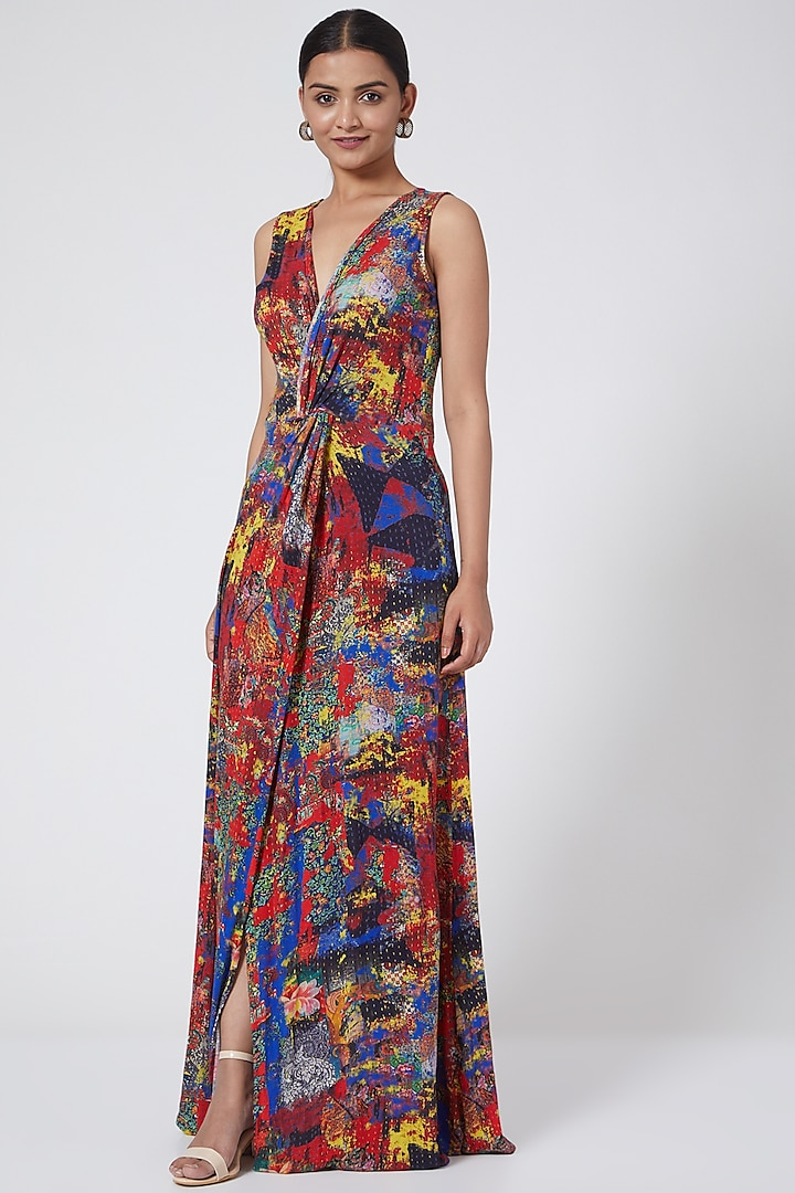 Multi Colored Wrap Dress With Knot by Payal Jain