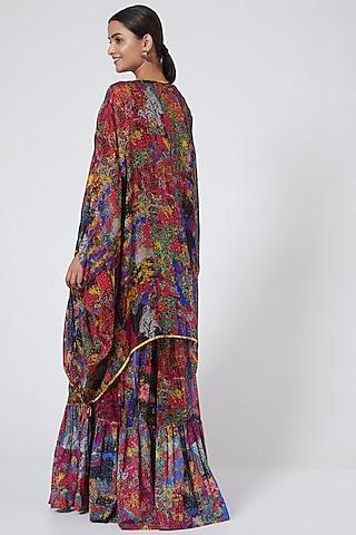 Multi Colored Printed Kimono Cape by Payal Jain