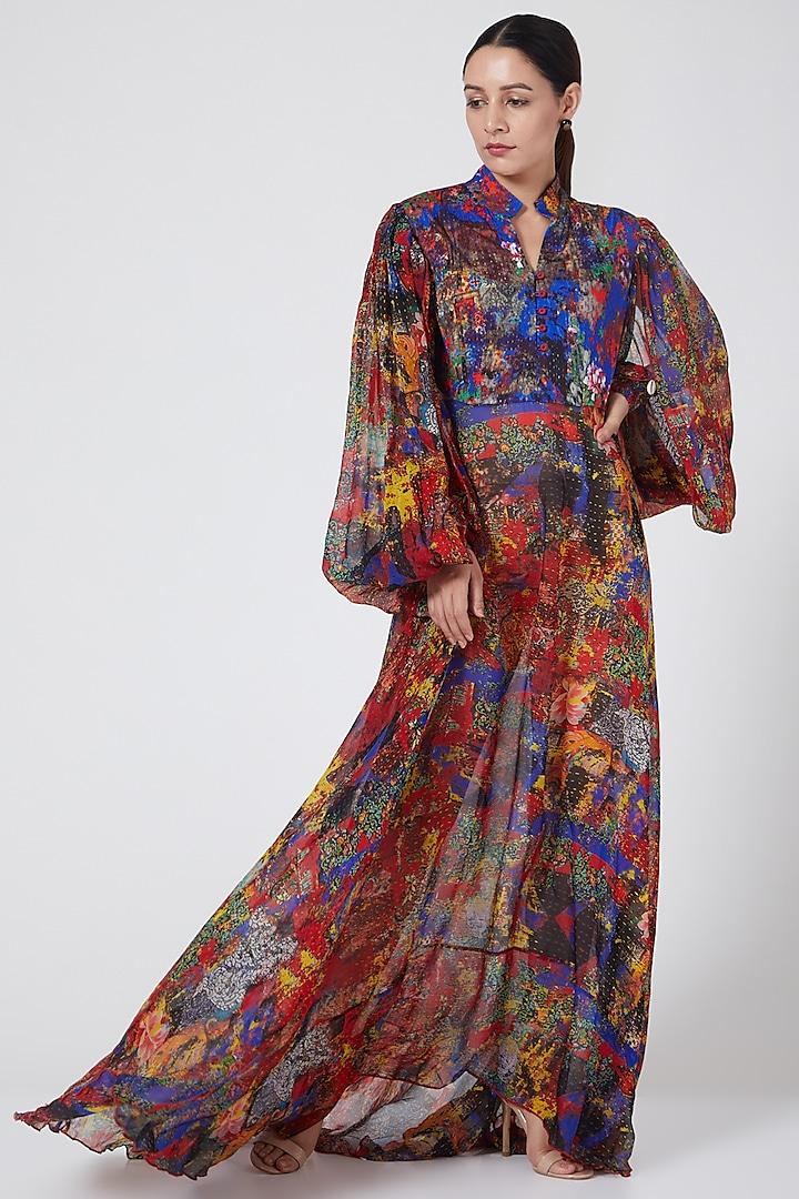 Multi Colored Asymmetric Draped Dress by Payal Jain