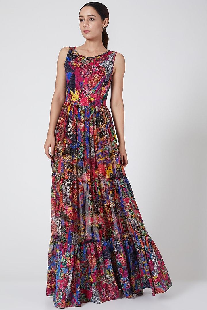Multi Colored Peasant Dress by Payal Jain