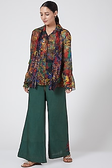 Green Printed Wide-Leg Pants by Payal Jain