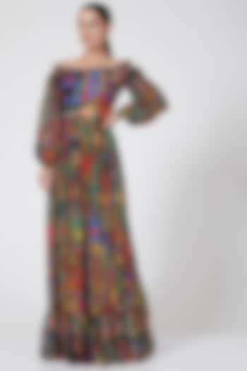 Multi Colored Ruffled Off Shoulder Peasant Dress by Payal Jain