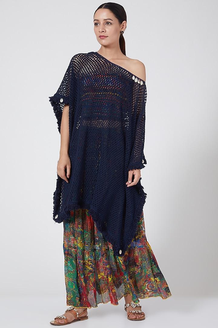 Blue Cotton Crochet Kaftan by Payal Jain