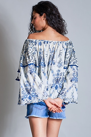 Off White Embroidered Off-Shoulder Peasant Blouse by Payal Jain