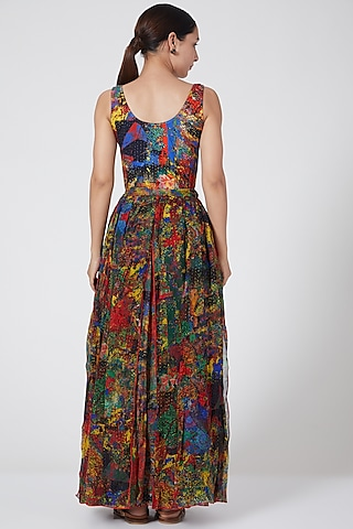 Multi Colored Tiered Maxi Skirt by Payal Jain