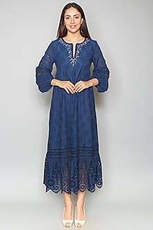 Blue Tiered Cutwork Tunic by Payal Jain-PAYAL JAIN