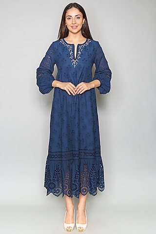 Blue Tiered Cutwork Tunic by Payal Jain