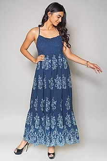 Blue Cutwork Maxi Dress by Payal Jain