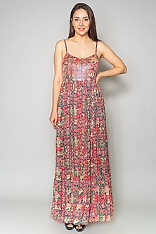 Multi Colored Corset Dress by Payal Jain-PAYAL JAIN