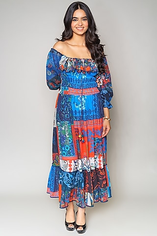 Multi Colored Off Shoulder Dress by Payal Jain