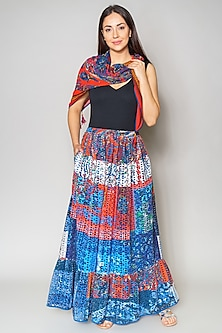 Multi Colored Cutwork Cotton Skirt by Payal Jain