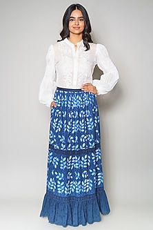 Blue Cutwork Cotton Skirt by Payal Jain
