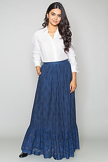 Blue Cotton Cutwork Skirt by Payal Jain