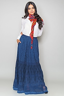 Blue Tiered Cotton Skirt by Payal Jain
