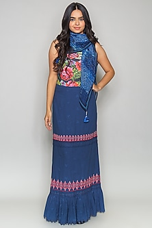 Blue Tiered Cutwork Cotton Skirt by Payal Jain