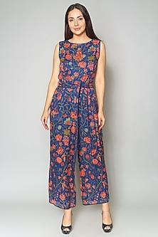 Blue Printed Linen Jumpsuit by Payal Jain-PAYAL JAIN
