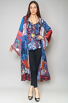 Multi Colored Cape In Satin by Payal Jain