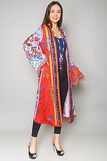 Multi Colored Satin Cape by Payal Jain