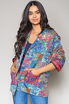 Multi Colored Jacket In Linen Satin by Payal Jain