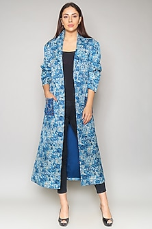 Multi Colored Linen Satin Slub Jacket by Payal Jain-PAYAL JAIN