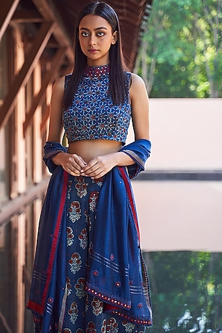 Indigo Blue Printed Blouse by Payal Jain