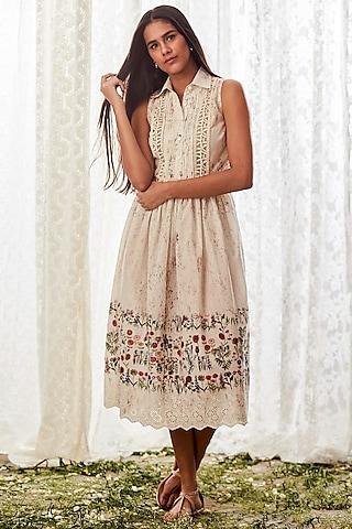 Off White Cotton Dress by Payal Jain
