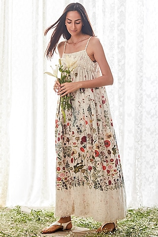 Off White Printed Sleeveless Dress by Payal Jain