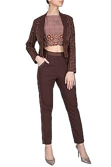Dark Brown Embroidered Cropped Jacket With Pants & Crop Top by Priya Agarwal