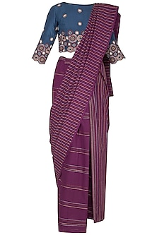 Magenta Embroidered 2-Half Saree Set by Priya Agarwal