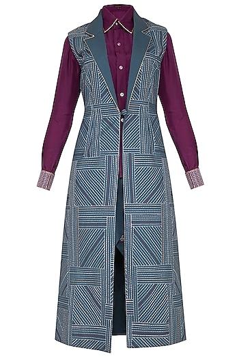 Grey & Magenta Shirt With Jacket & Wrapped Skirt by Priya Agarwal