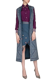 Grey & Magenta Shirt With Jacket & Wrapped Skirt by Priya Agarwal