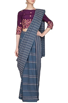 Grey Embroidered 2-Half Saree Set by Priya Agarwal