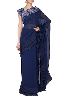 Indigo Blue Embroidered Saree Set by Priya Agarwal