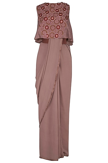 Light Brown Saree With Embroidered Crop Top by Priya Agarwal