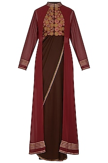 Maroon & Dark Brown Embroidered Saree Set With Jacket by Priya Agarwal