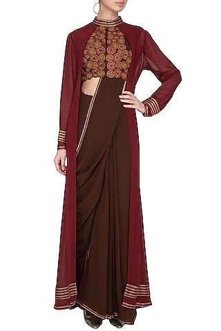 Maroon & Dark Brown Embroidered Saree Set With Jacket by Priya Agarwal