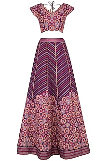Magenta Embroidered Gharara Set by Priya Agarwal