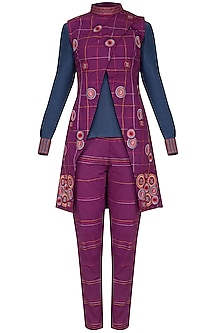 Magenta Embroidered Jacket With Pants & Blouse by Priya Agarwal