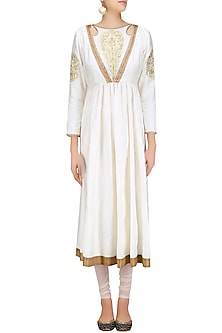 White and Gold Embroidered Cutout Anarkali Kurta Set by Priya Agarwal