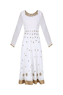 White and Gold Mirror Work Kalidaar Kurta Set by Priya Agarwal