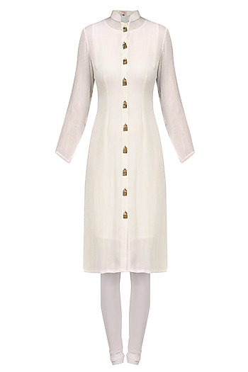 White and Gold Temple Motifs Button Down Shirt Tunic by Priya Agarwal