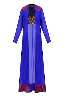 Blue and Black Temple Motifs Blouse Come Jacket by Priya Agarwal