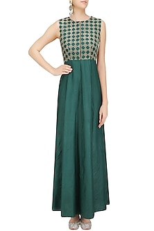 Dark Green and Kantha Thread Work Long Sleeveless Kurta by Priya Agarwal
